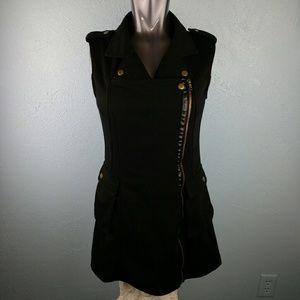 Long zipper button front vest pocket